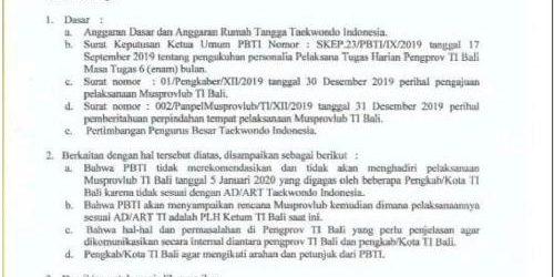 Plh. Ketum Pengprov TI Bali Ketut Sugiartha: Musprovlub TI Bali Paksakan Kehendak