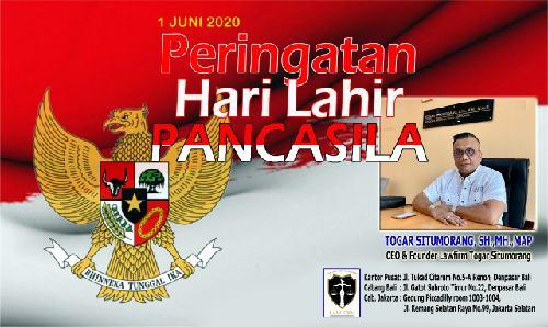 """Hari Lahir Pancasila Ditengah Wabah Covid-19, Togar Situmorang: """"Semangat Pancasila untuk bangkit dari keterpurukan"""""""