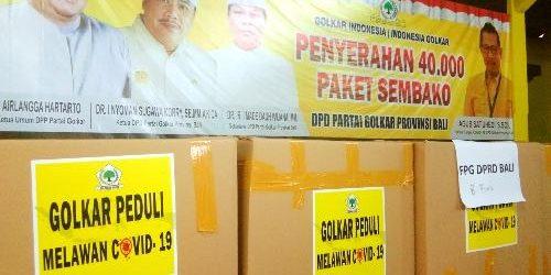 "Serahkan 40.000 Paket Sembako, Golkar Bali: ""Wujud karya dan kekaryaan Golkar kedepankan kesetiakawanan sosial"""