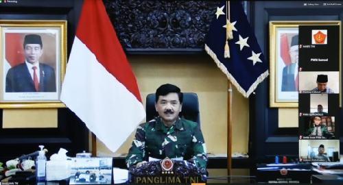 """Silahturahmi Virtual TNI dengan Muhammadiyah, Panglima TNI: """"Muhammadiyah aktif dalam penanganan covid-19"""