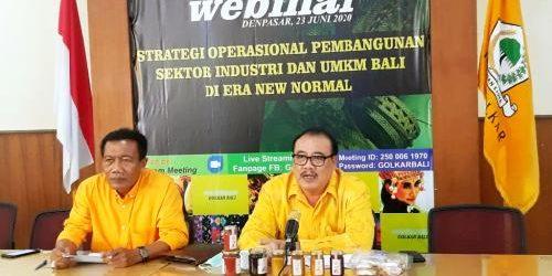"""Webinar Nasional Golkar Bali """"Strategi Operasional Pembangunan Sektor Industri dan UMKM Bali di Era New Normal"""", Sugawa Korry: """"Buka segera aktivitas ekonomi masyarakat"""""""