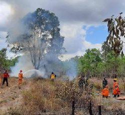 Tim Gabungan Korem 174 Merauke Berhasil Padamkan Karhutla di Kebun Coklat Distrik Tanah Miring